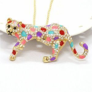 Jewelry - Beautiful Cheetah  Leopard Gold Necklace Pink
